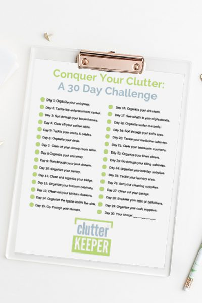 Tackle the clutter in your home. Join us for our 30 Day Conquer Your Clutter Challenge. This free home organization challenge is open to anyone at any time.