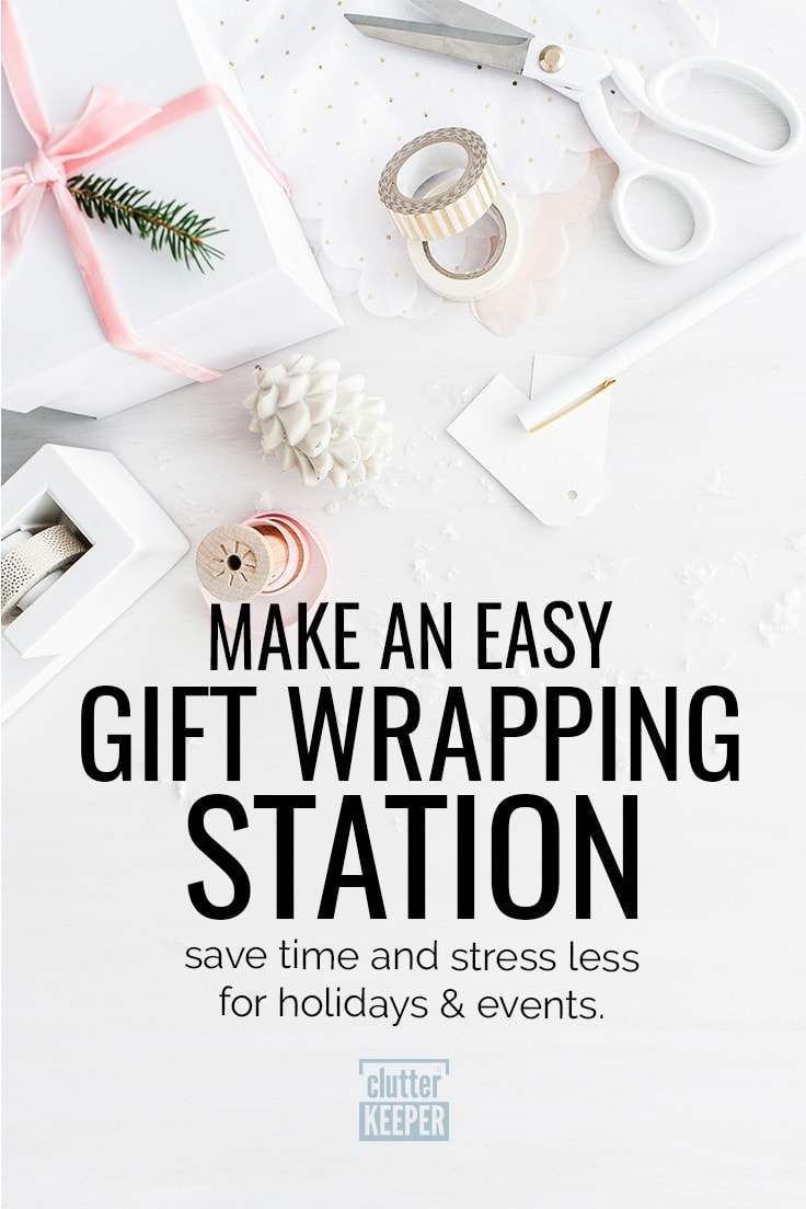 Don't allow the joy of gift-giving to become a chore. Easily create a beautiful gift wrapping station in either a room or small spaces like a closet or hanging behind a door! This will help you save time and stress less for events and holidays like a birthday or Christmas. Create your gift wrapping storage area with these tips and ideas for storing tissue paper, bows, and more. #giftwraporganization #organization #clutterkeeper