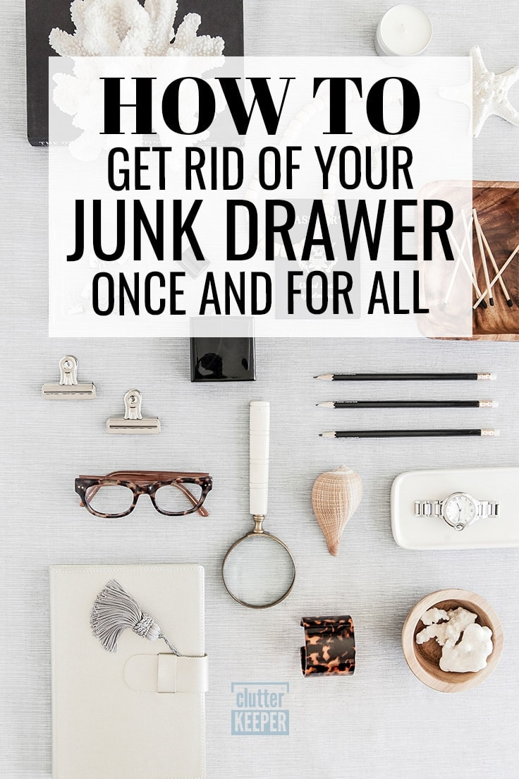 Rather than tell you about junk drawer organization, this post is about ideas for an organized alternative and getting rid of your kitchen junk drawer completely in less than 10 minutes! Great tips on organizing all those items in their new homes! #junkdrawer #organization #declutter #kitchenorganization #organized #springcleaning #clutterkeeper
