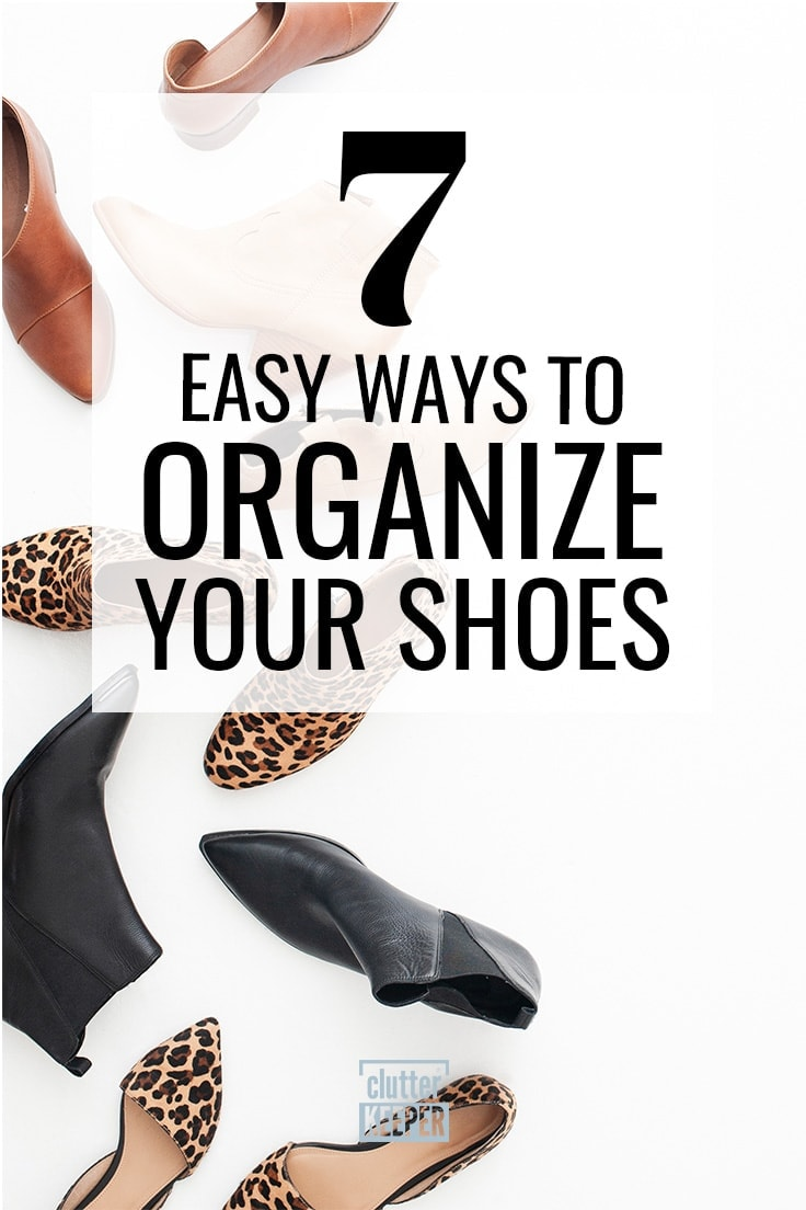 How do you organize shoes in your closet? Shoes are such a pain to organize! Here are some practical shoe organizer tips (including some DIY ideas) that really work whether you have an entryway, small space, under bed storage, or large closet. #shoeorganization #closetorganization #kenarry