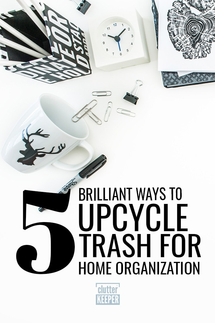 If you want to get your home organized on a budget, learn how to turn your trash into a home organization solution with these easy upcycling ideas. #organize #recycle #upcycle