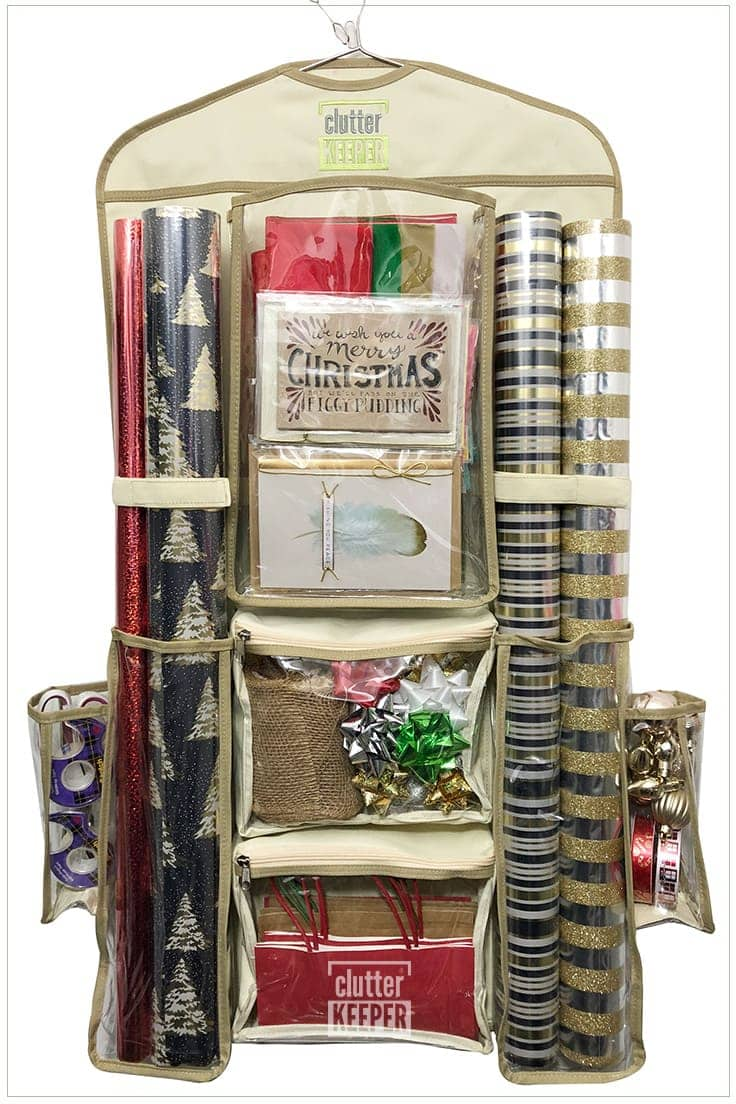 Looking for the best way to organize all your Christmas gift wrapping supplies? Use the two sided Deluxe Hanging Gift Wrap Storage Organizer from Clutter Keeper.