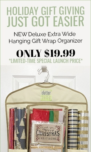 Holiday gift giving just got easier with the new Clutter Keeper Deluxe Hanging Gift Wrap Organizer.