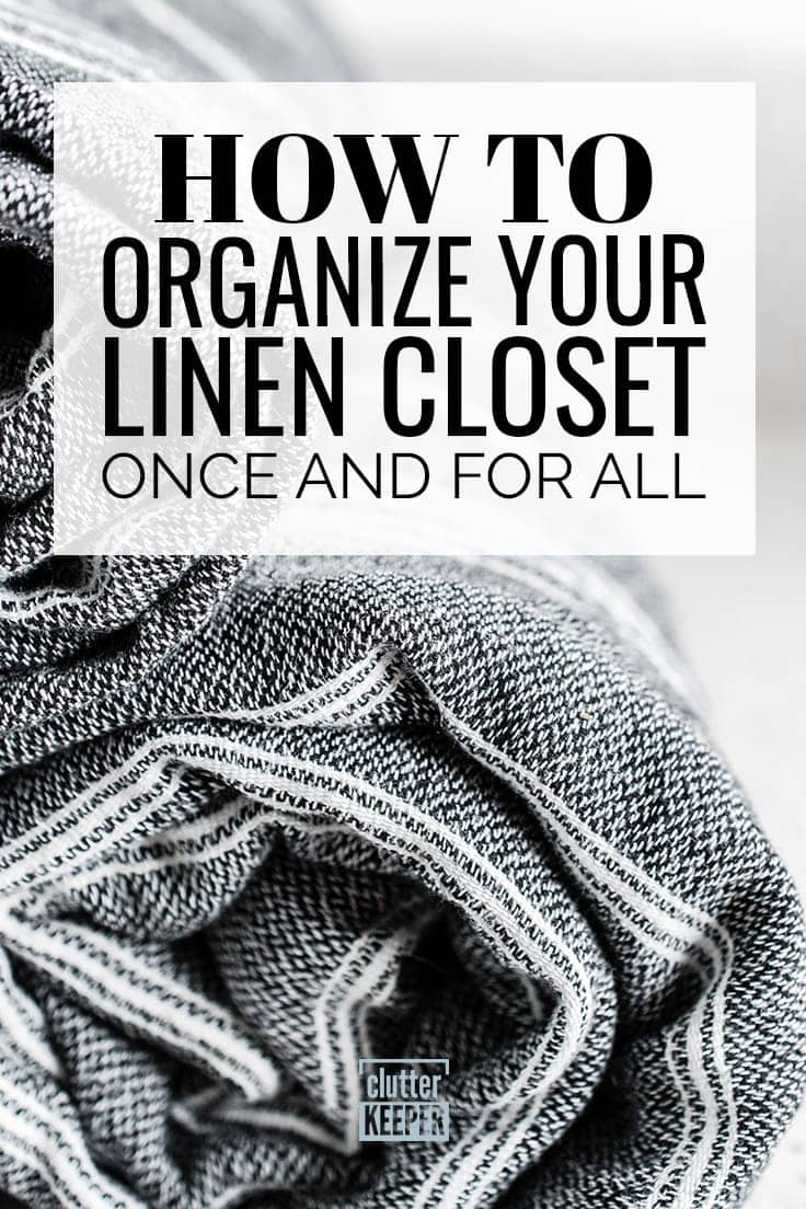 If you need a little extra space to get the door shut on your small, old hallway linen closet, or a way to organize your sheets and get rid of overflowing shelves, here are ideas on how to organize your linen closet once and for all! #linencloset #organization #clutterkeeper