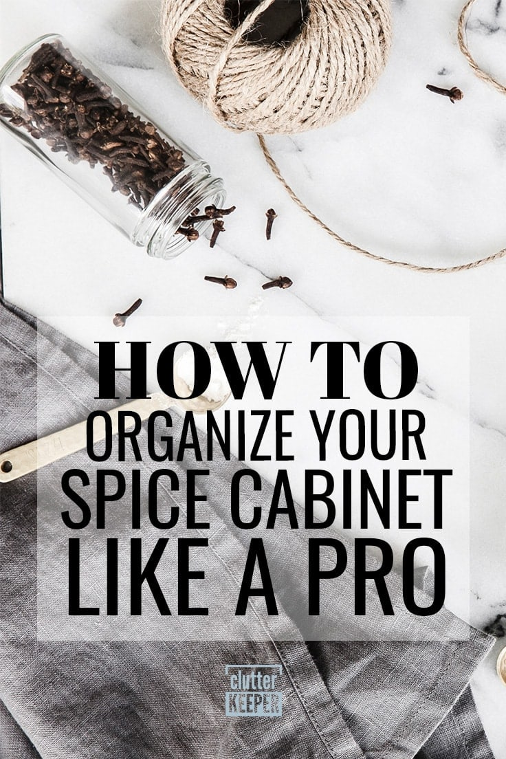 Organizing your spice cabinet or drawer doesn't have to be tricky. If you follow these easy tips and ideas, you'll be able to find any spice you need in your kitchen. #spiceorganization #kitchenorganization #clutterkeeper