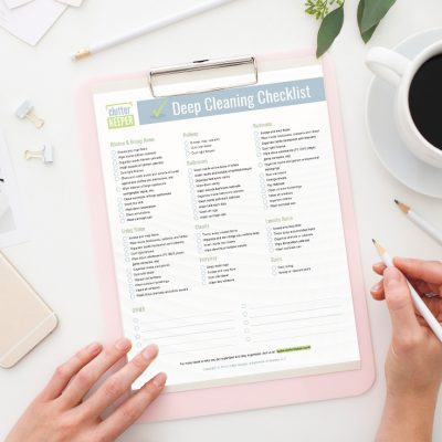 Keep your home clean with this deep cleaning house schedule and printable checklist. You'll discover a room by room list of cleaning hacks too.
