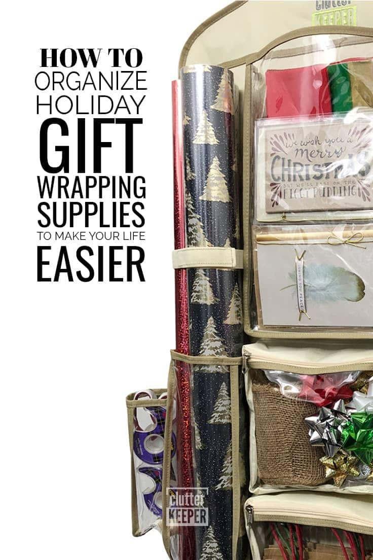 Organizing holiday gift wrapping supplies like gift wrap, tape, bags and tissue paper, can all be a huge headache. There are so many things involved in wrapping Christmas gifts, and it is really helpful to create a gift wrapping station to keep it all contained. These tips will help you get organized and stay organized.