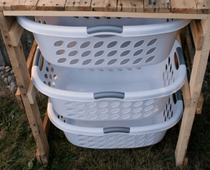 DIY Laundry Basket Organizer out of Wood Pallets
