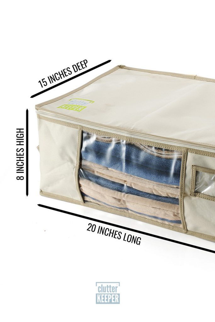 Are out of season blankets and clothes taking up valuable storage space in your closet? Get organized with the Clutter Keeper Deluxe Storage Bag Organizer. #closetorganization #organizing #homeorganization #storagebag