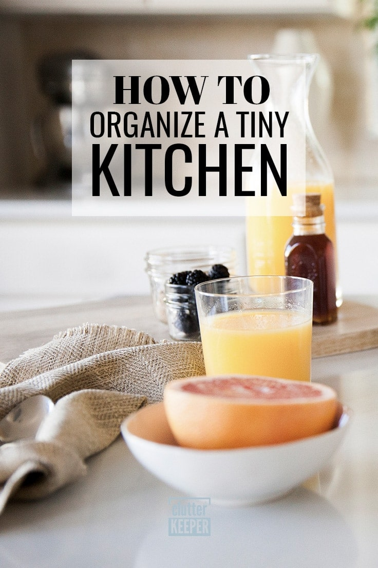 Struggling to organize a small kitchen? If there never seems to be enough storage in your home (especially if you're in a rental home or apartment), you'll love these 10 space saving hacks and ideas for all the tiny spaces in your kitchen. #organize #organizing #clutterkeeper