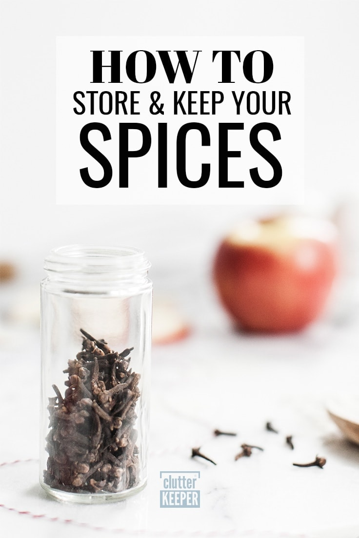 How do you store food in the freezer, fridge and pantry? This food storage guide will walk you through every step and answer all your questions including how to store spices in a cabinet, drawer, pantry, or other small space. #spiceorganization #spicestorage #clutterkeeper