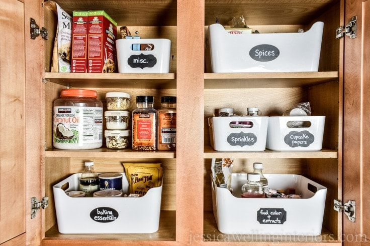 image of baking cupboard with organized baking ingredients and supplies