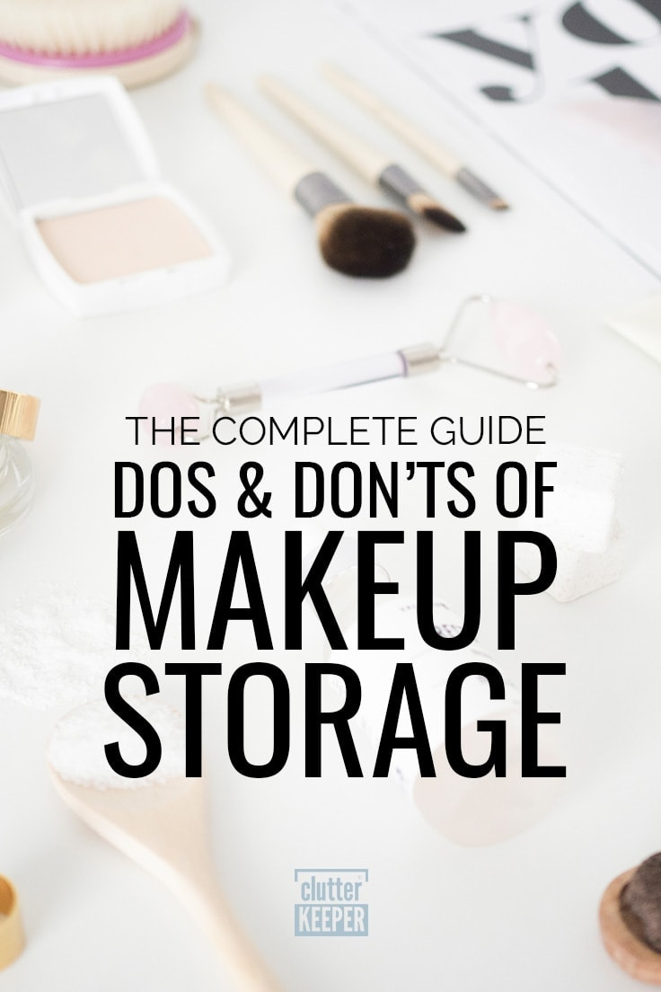 Makeup and makeup application tools on a white background, including brushes. The complete guide to the dos and don'ts of makeup storage.