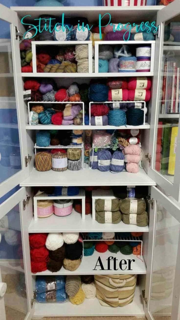 Storage cabinet full of yarn.