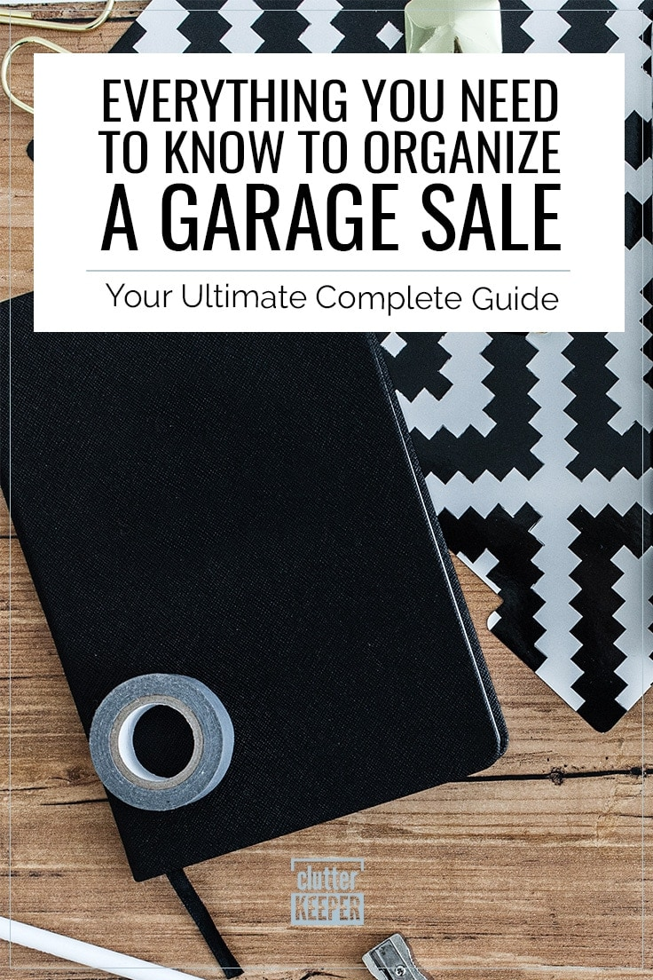 Everything you need to know to organize a garage sale. Your ultimate complete guide. Overhead shot of a notebook, tape, pencils and a pencil sharpener in preparation for a yard sale.
