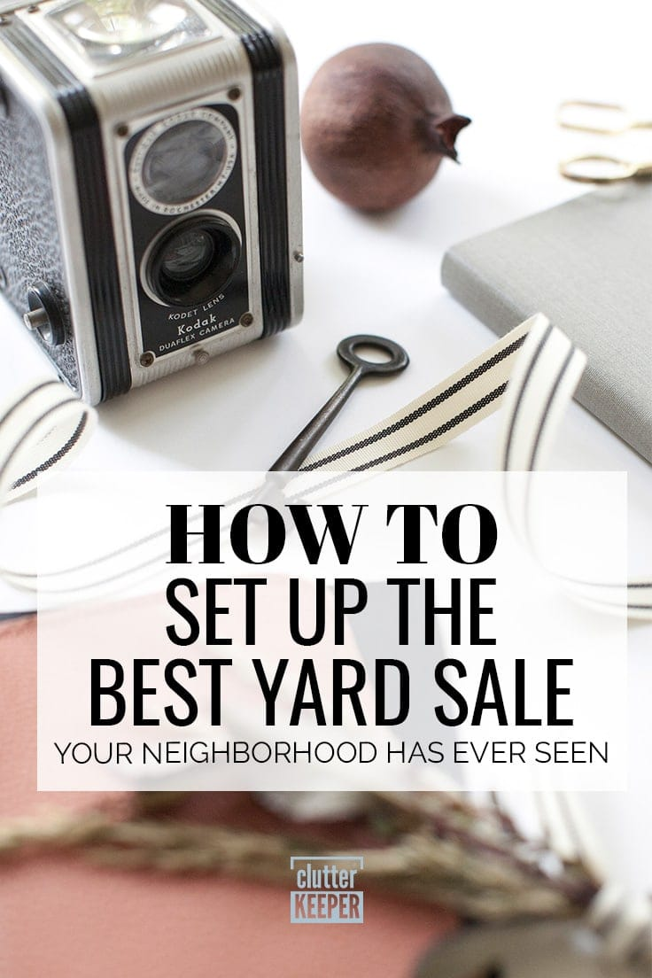 How to set up the best yard sale your neighborhood has ever seen. A vintage or antique camera sits waiting to be tagged for a garage sale.