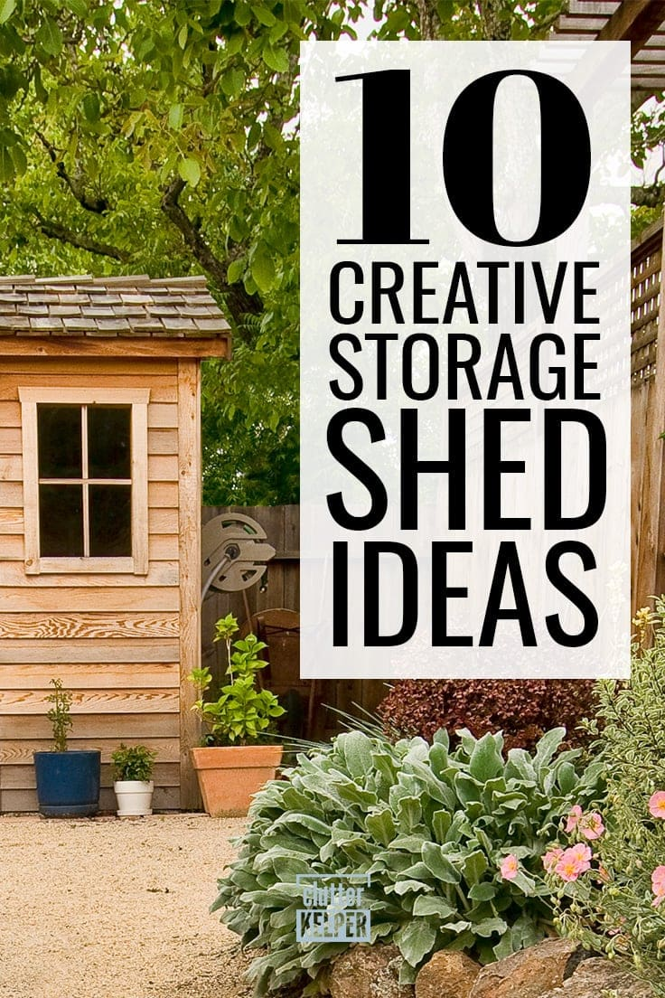 10 Creative Storage Shed Ideas - corner of an outdoor storage shed with wood siding.