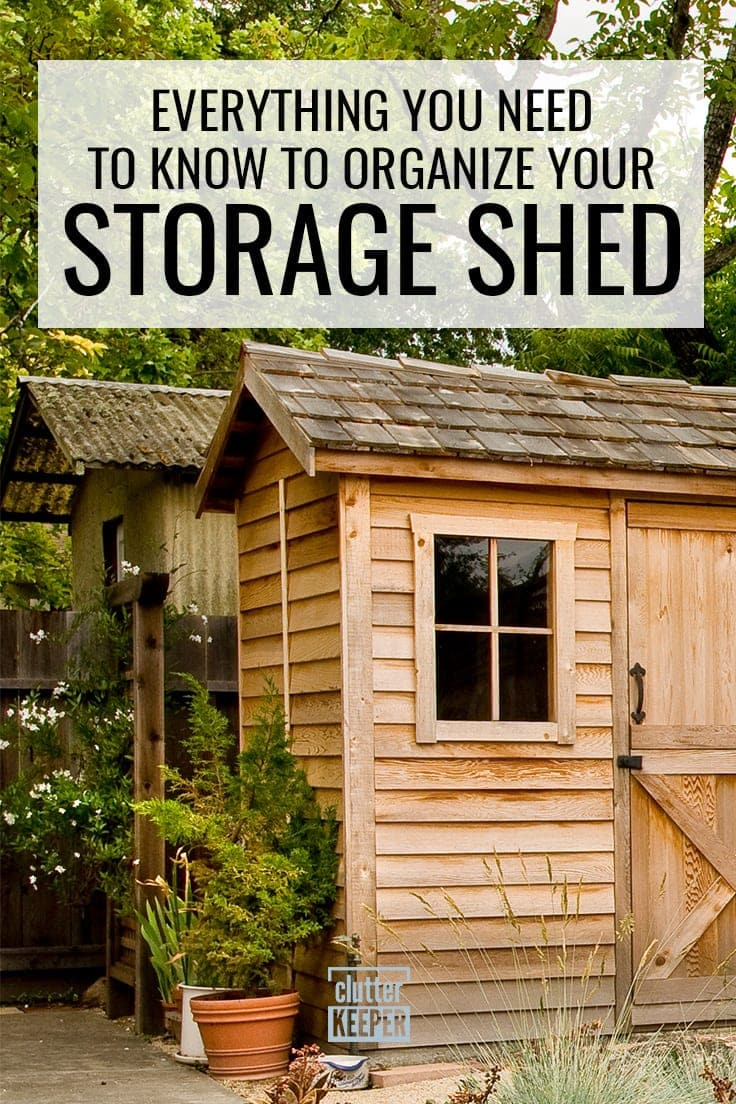 Everything You Need to Know to Organize Your Storage Shed. Two backyard storage sheds side by side.