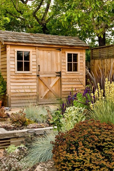 Two backyard storage sheds side by side with beautiful lush landscaping around them and a tall fence.