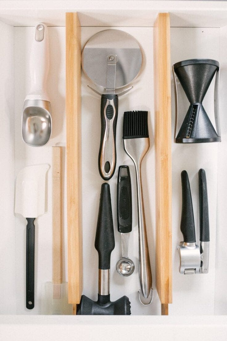 A kitchen drawer organized by the NEAT Method.
