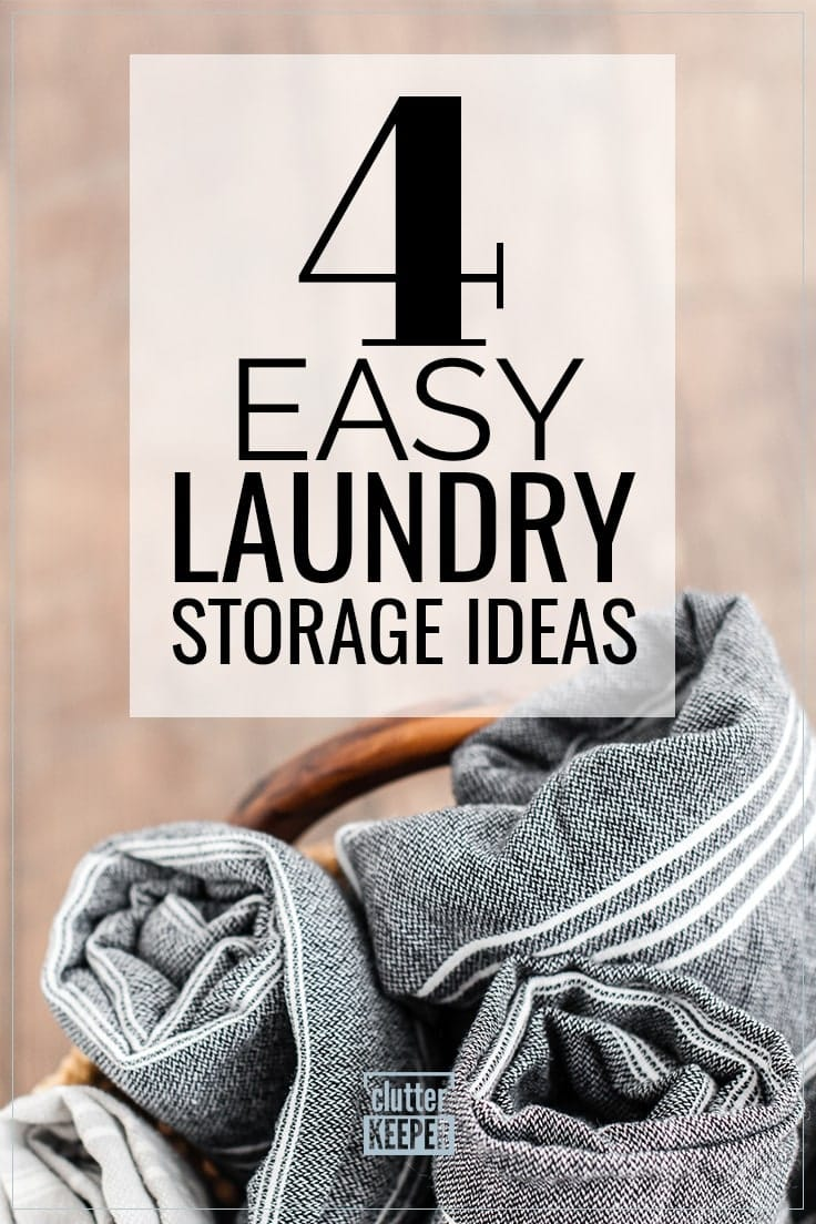 4 Easy Laundry Storage Ideas, close-up of rolled towels or light-weight blankets in a basket with a wooden handle.