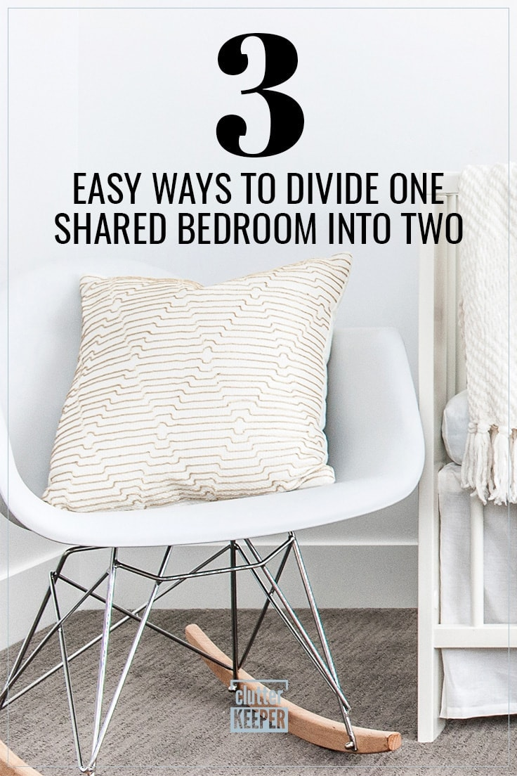 3 Easy Ways to Divide One Shared Bedroom Into Two, a close-up of a pillow in a modern rocking chair next to a crib