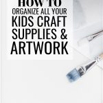 How to Organize All Your Kids Craft Supplies and Artwork, blue watercolor paintings and a close-up of the tips of paint brushes being used by children for crafting.