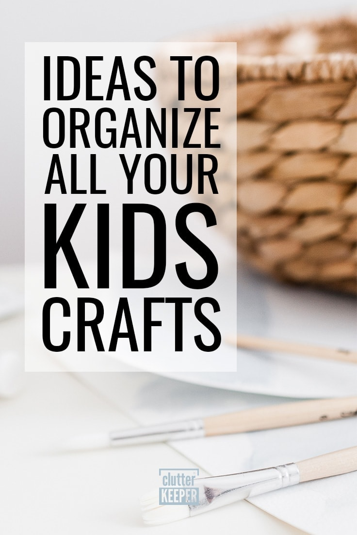 Ideas to Organize All Your Kids Crafts, a close up of a round wicker basket, paint brushes and watercolor drawings made by children.