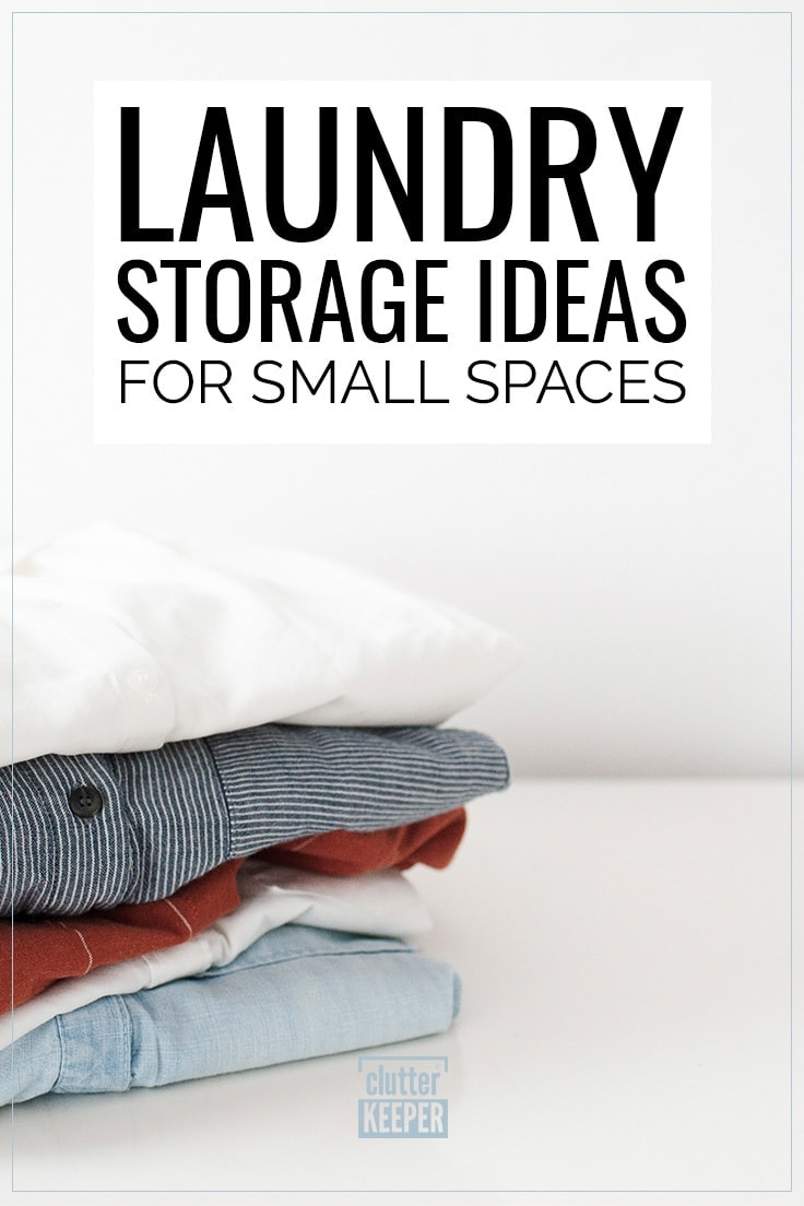 Laundry Storage Ideas for Small Spaces, stack of neatly folded shirts on the counter in a laundry room