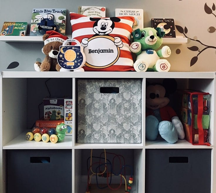 An organized child's bookshelf