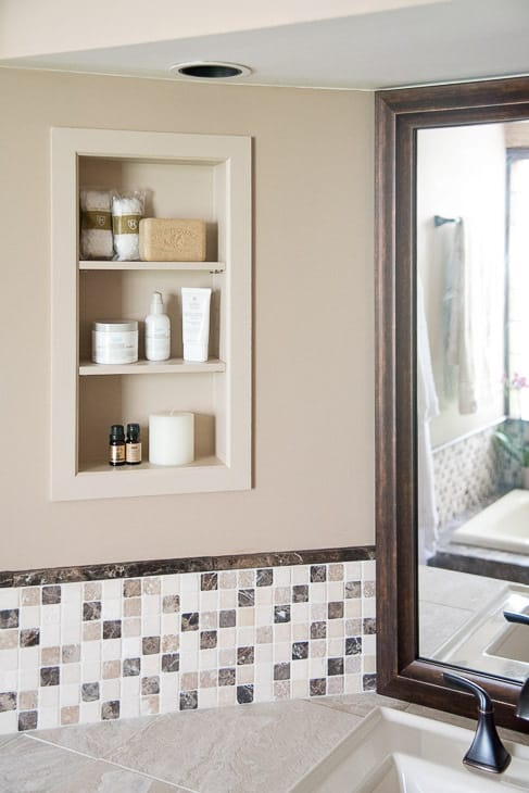 Recessed bathroom shelves you can build yourself