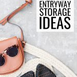 Clever Entryway Storage Ideas, black crochet knit shoes on a woven mat in a mudroom with a leather purse and sunglasses