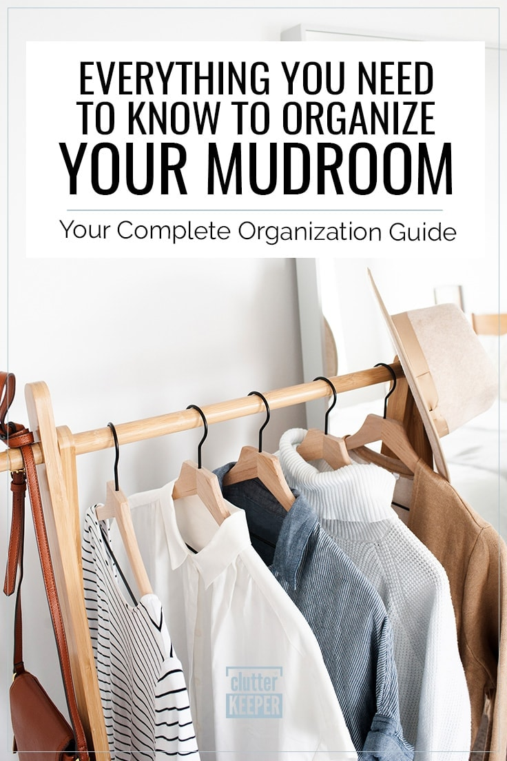 Everything You Need to Know to Organize Your Mudroom: Your Complete Organization Guide, Clothes and shoes hanging on a rack in a family's mudroom or entryway in their home.