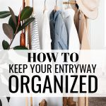 How to Keep Your Entryway Organized, clothes, a hat, a purse and shoes hanging on a rack in a family's mudroom or entryway in their home.
