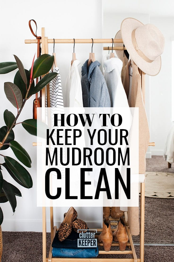 How to Keep Your Mudroom Clean, Clothes, a purse, hats and shoes hanging on a rack in a family's mudroom or entryway in their home.