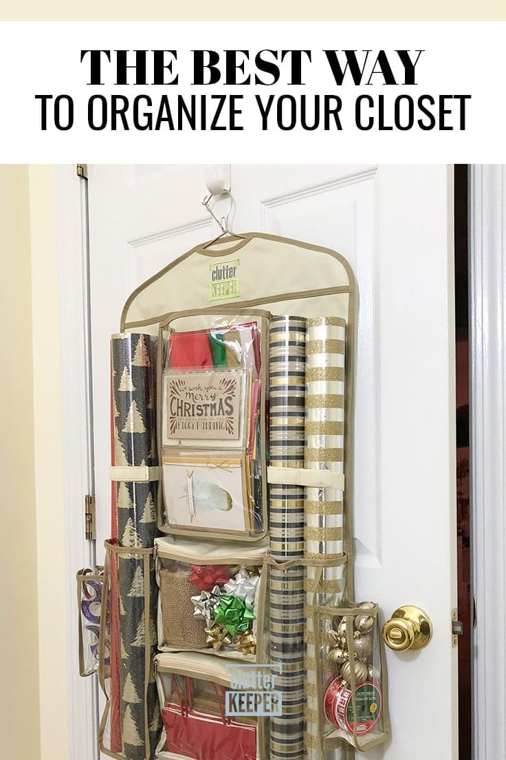 The Best Way to Organize Your Closet, Clutter Keeper® Hanging Gift Wrap Storage Organizer filled with Christmas wrapping paper and bows hanging on a closet door.