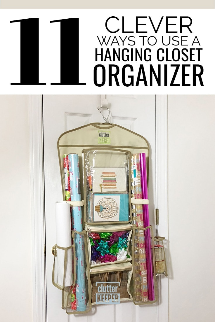 11 Clever Ways to Use a Hanging Closet Organizer, Clutter Keeper® Hanging Gift Wrap Organizer filled with birthday cards, gift wrap and gift bags on a closet door.