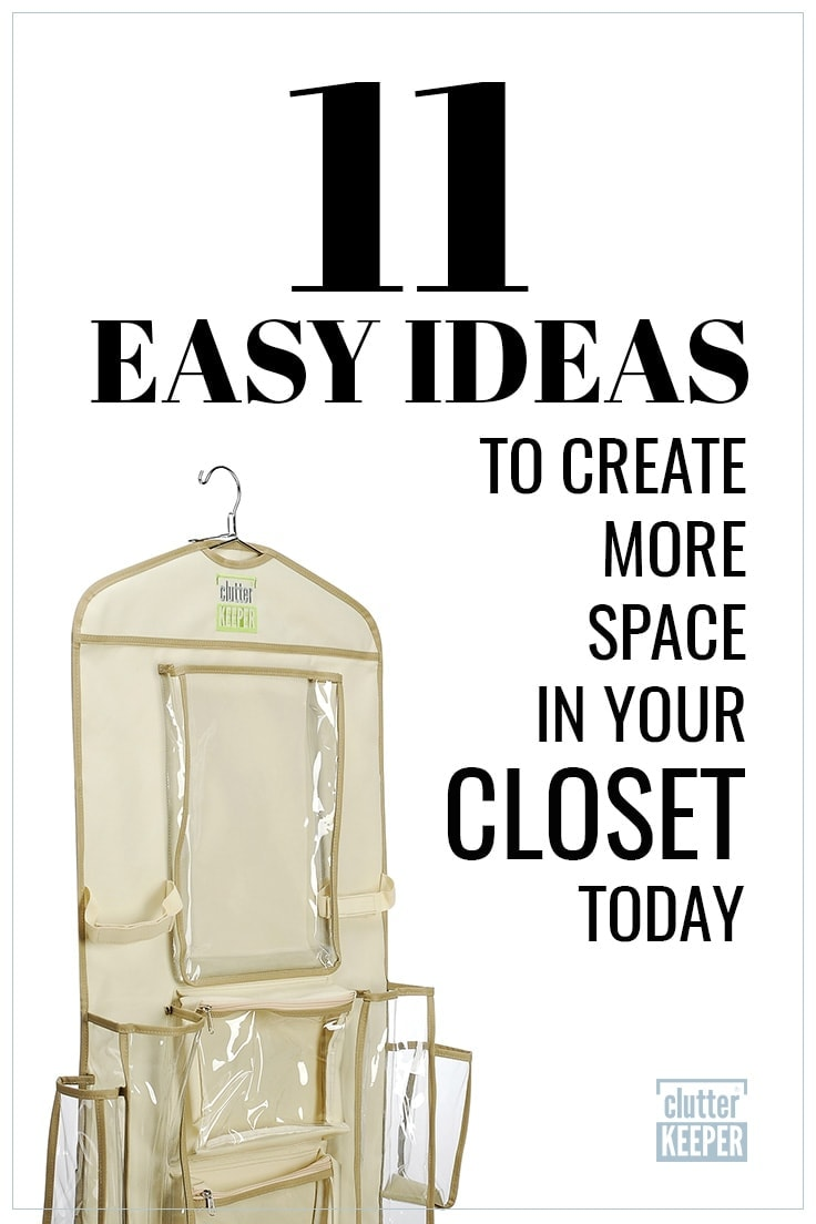 11 Easy Ideas to Create More Space in Your Closet Today, Clutter Keeper® hanging organizer with empty pockets ready for your creative and clever uses.