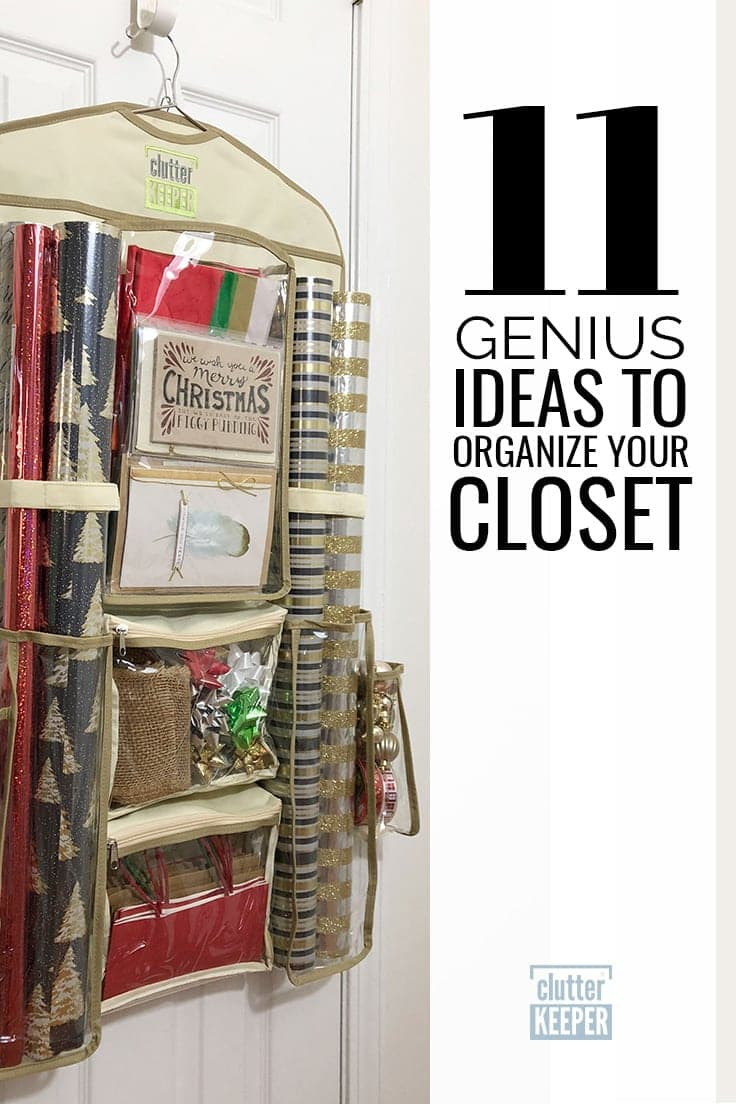 11 Genius Ideas to Organizer Your Closet, Clutter Keeper® Hanging Gift Wrap Storage Organizer filled with Christmas wrapping paper and bows hanging on a closet door.