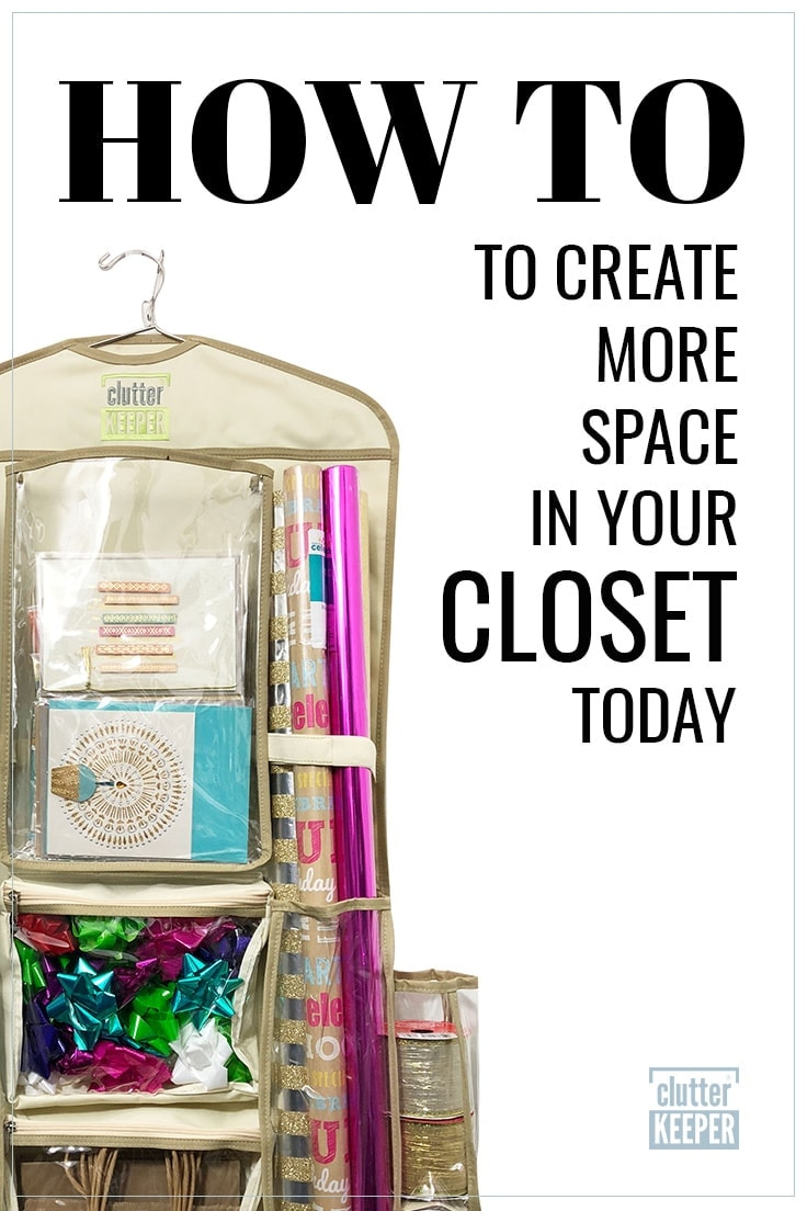 How to Create More Space in Your Closet Today, Clutter Keeper® hanging gift wrap storage organizer filled with gift wrap, bows and ribbons.