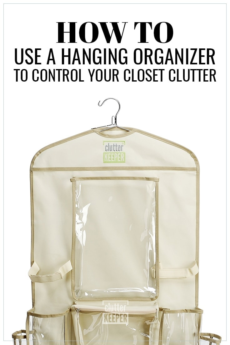 How to Use a Hanging Organizer to Control Your Closet Clutter, Clutter Keeper® hanging organizer with empty pockets ready for your creative and clever uses for home organization.