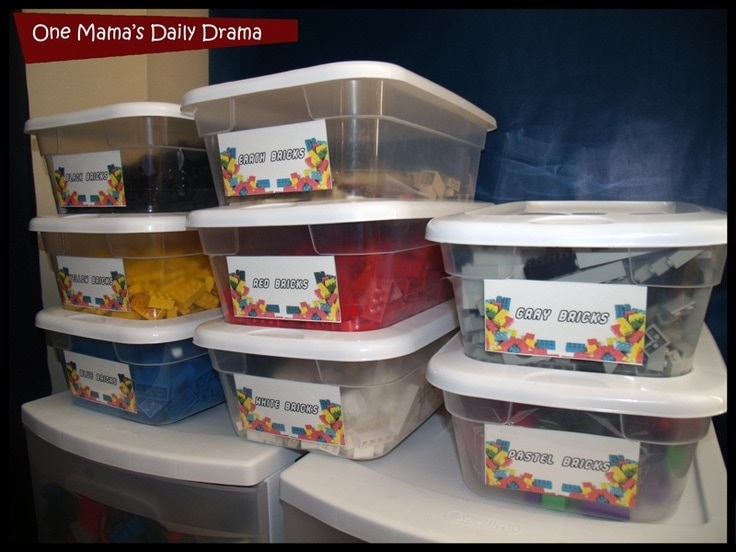 LEGO containers with printable labels.
