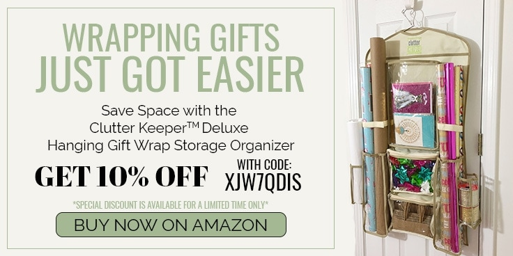 Wrapping Gifts Just Got Easier. Save Space with the Clutter Keeper Deluxe Hanging Gift Wrap Storage Organizer. Get 10% Off with Code: XJW7QDIS. Special discount is available for a limited time only. Buy now on Amazon.