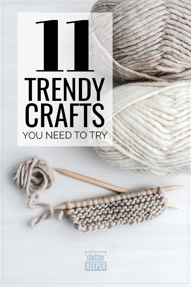 11 Trendy Crafts You Need to Try, yarn and knitting needles on a table top.