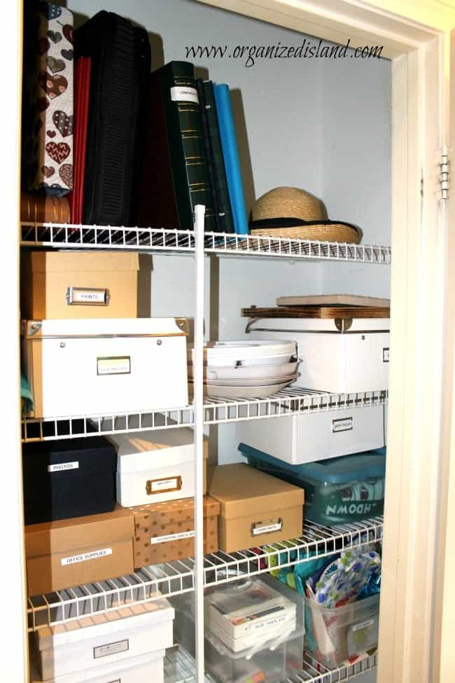 A completely organized hall closet