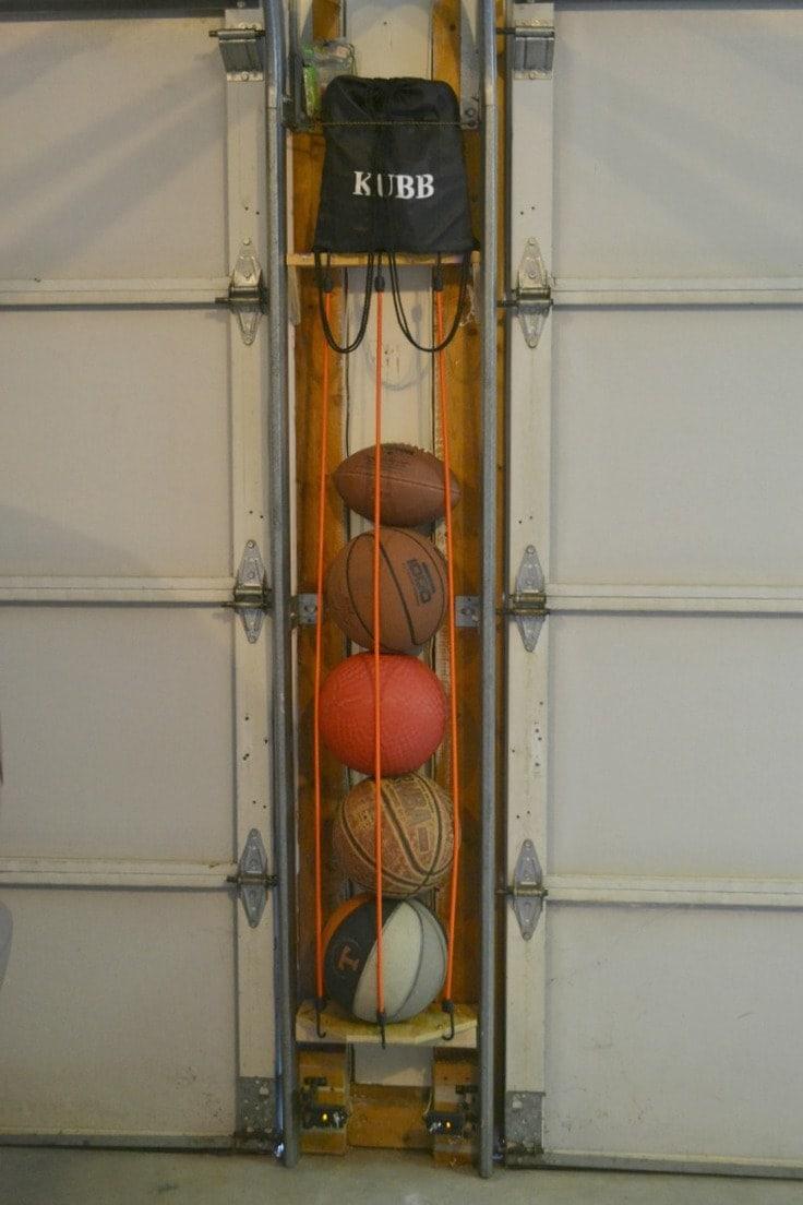 DIY Sports ball holder in a garage