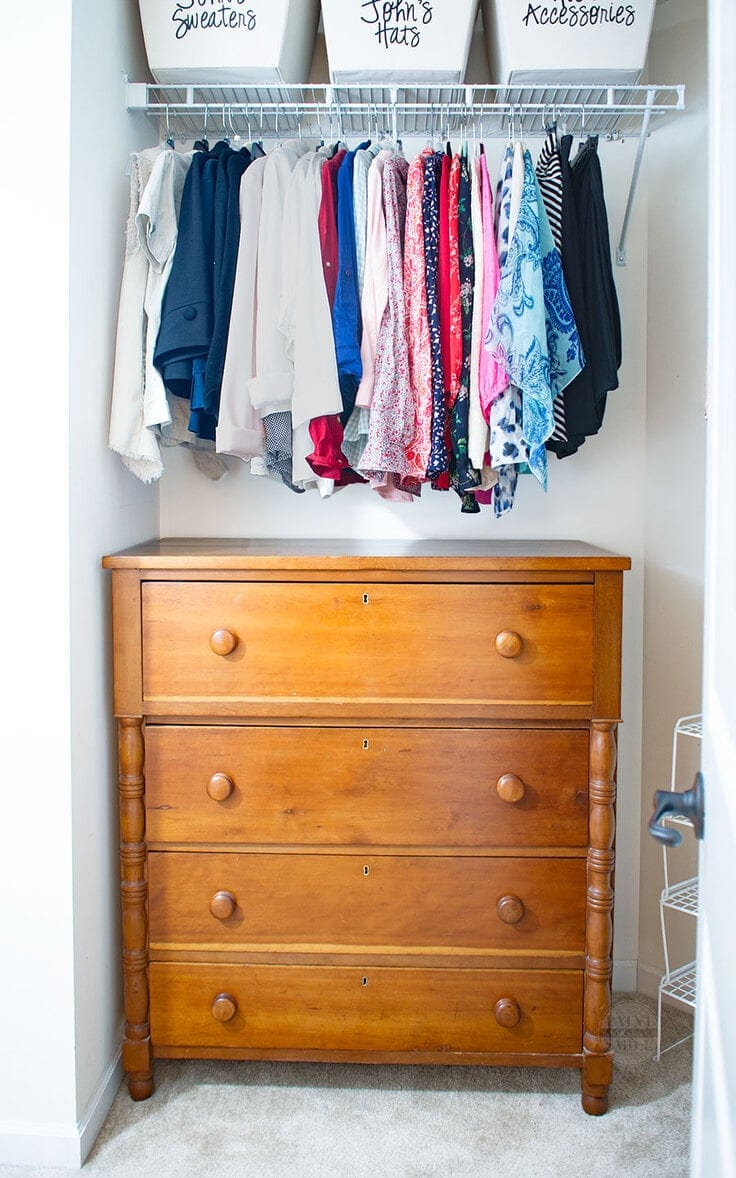 A dresser inside a closet - a budget-friendly storage solution