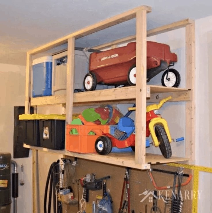 Ceiling mounted shelves in the garage