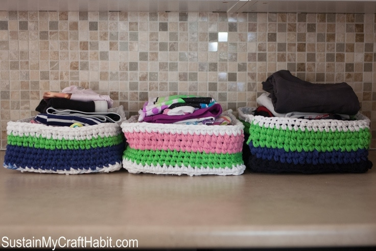 3 crocheted laundry baskets
