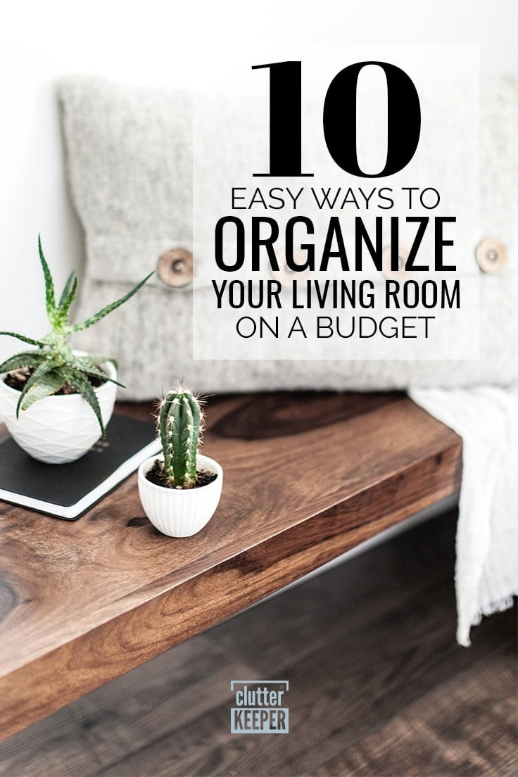 10 Easy Ways to Organize Your Living Room on a Budget, a wooden console table with two small planters, a notebook and a throw pillow